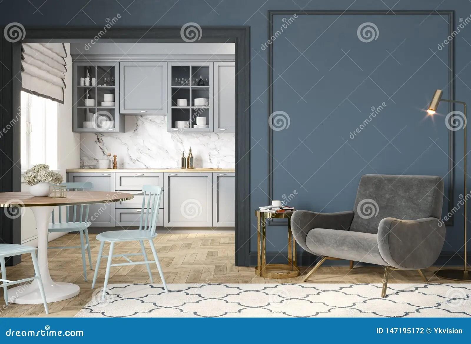 interieur gris bleu classique moderne