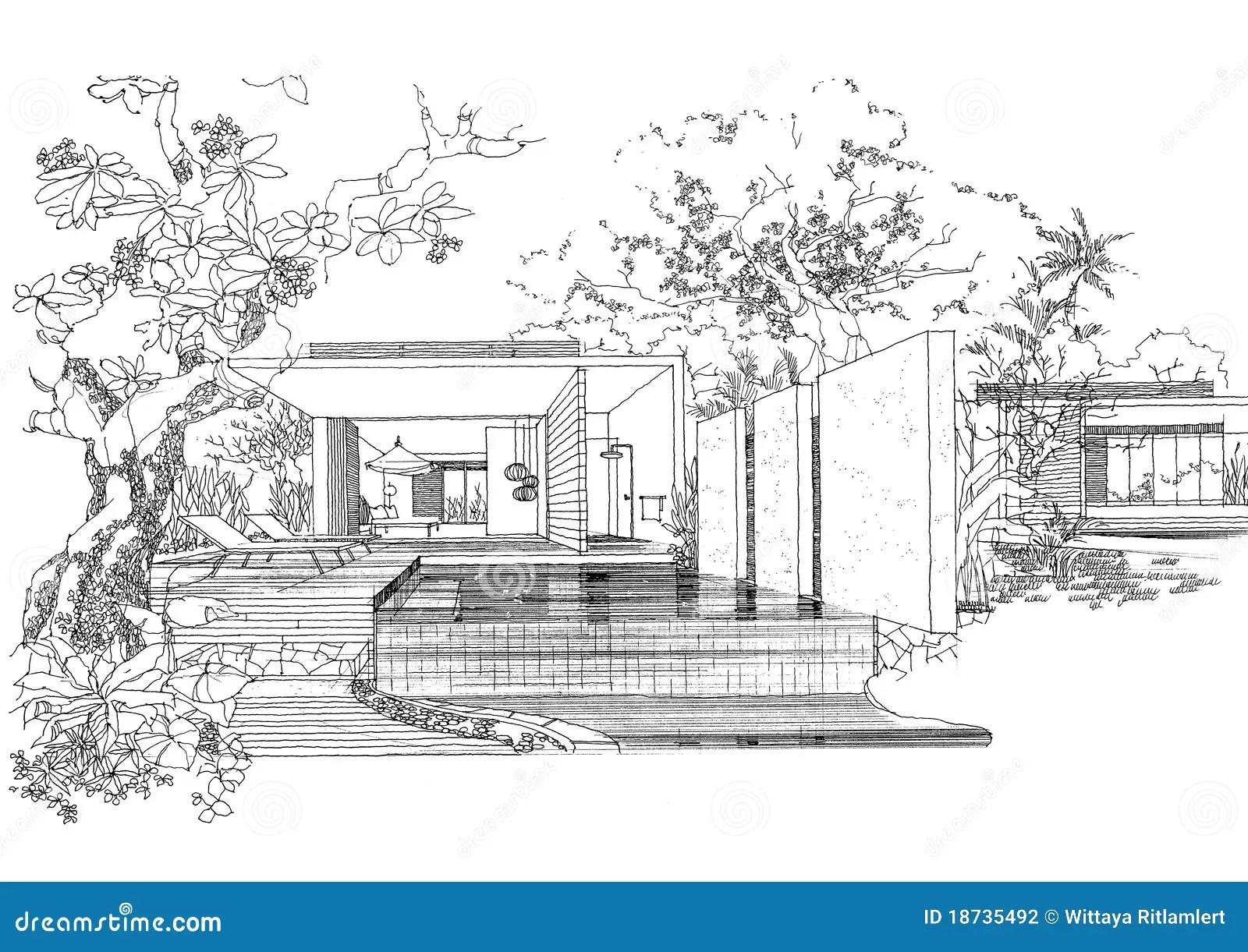 Interior Architecture Construction Landscape Sketc Stock Illustration