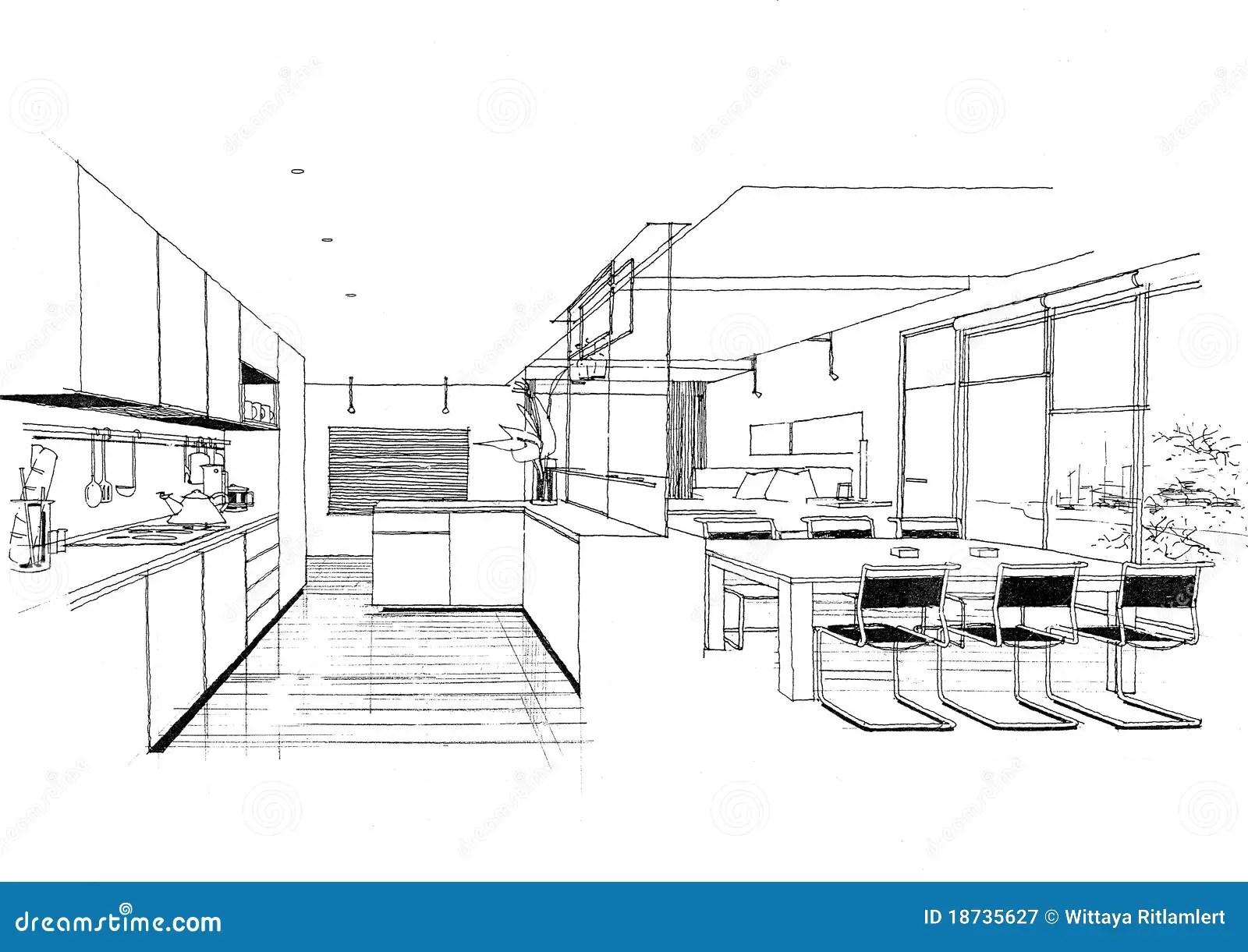 Interior Architecture Construction Landscape Sketc Stock