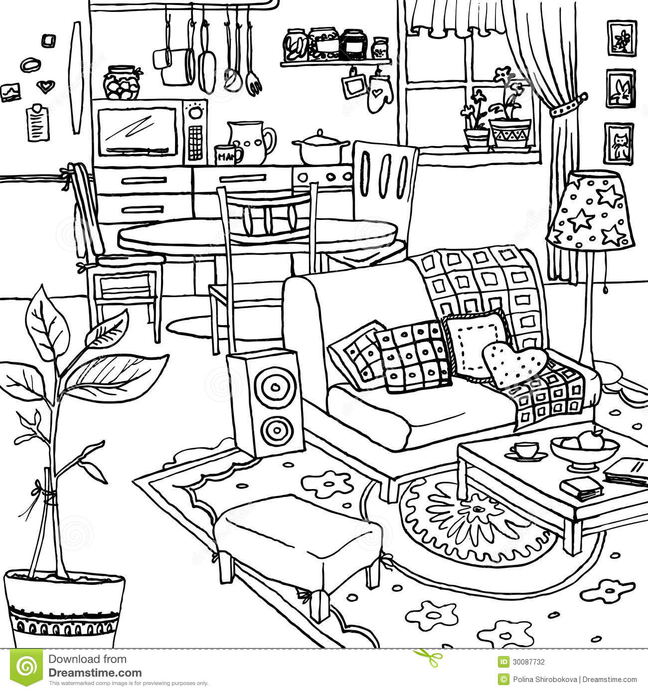 Interior Of A Bachelor S Or Single Woman Room Stock Vector