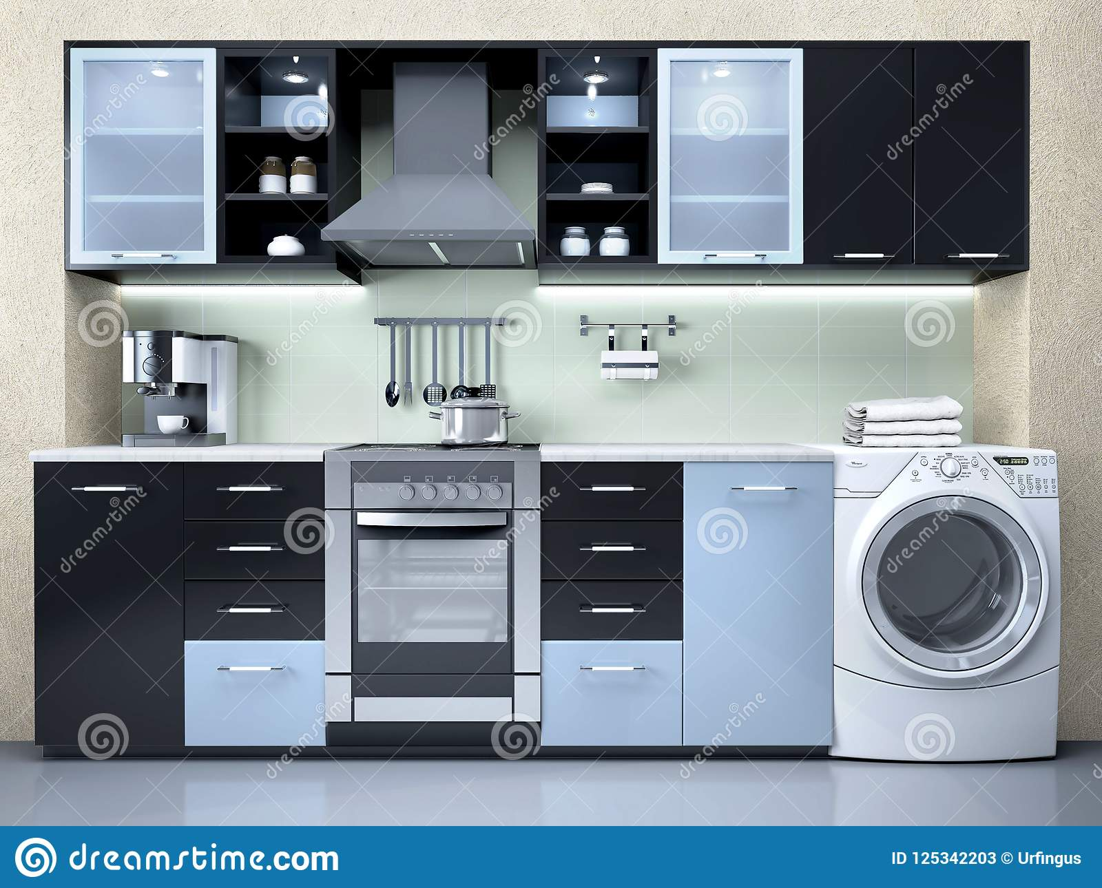 interior design of the kitchen with washing machines. stock