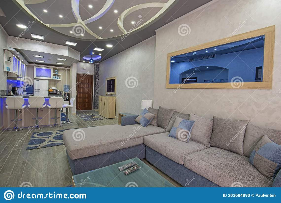 Interior Design Of Luxury Apartment Kitchen And Living Room Stock Photo Image Of Couch Stool 203684890