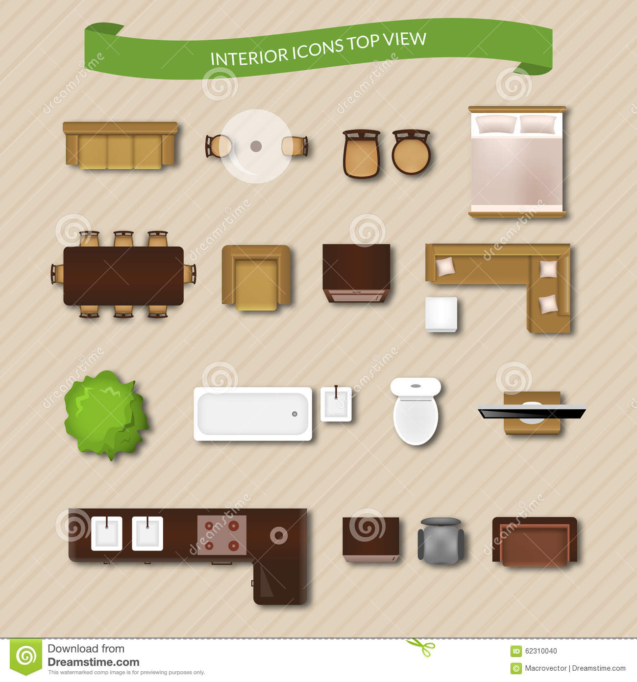 Top View Furniture Icons Vector Illustration