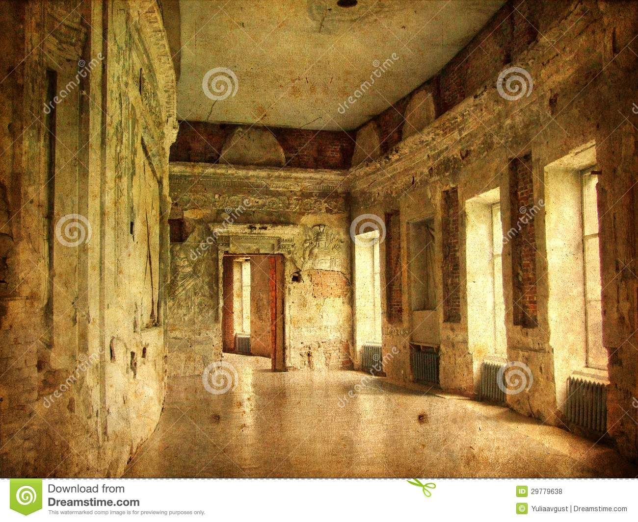 Interior Of An Old Palace Ruines Of A Castle Royalty