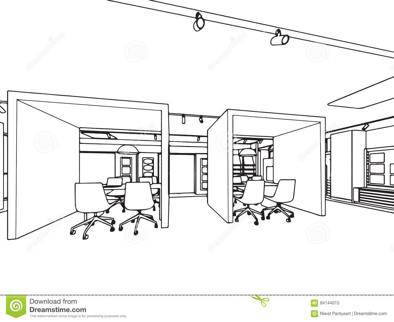 Interior Showroom Offfice Outline Drawing Sketch Stock