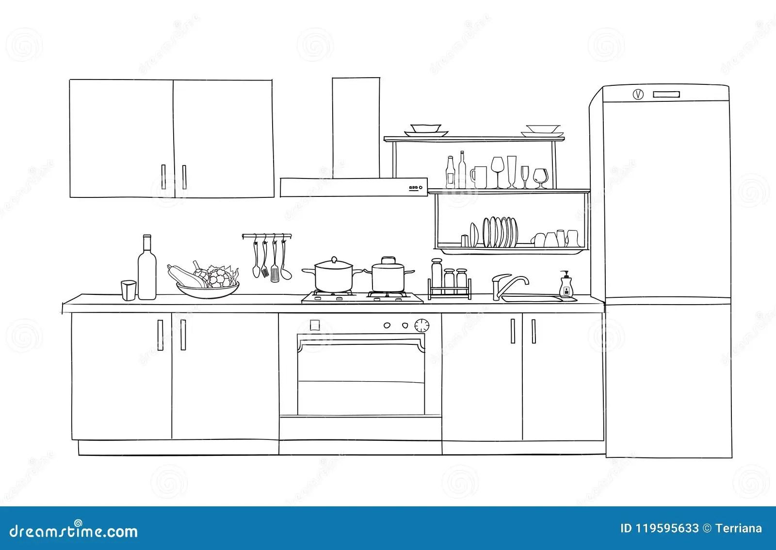 Interior Sketch Of Kitchen Room Outline Blueprint