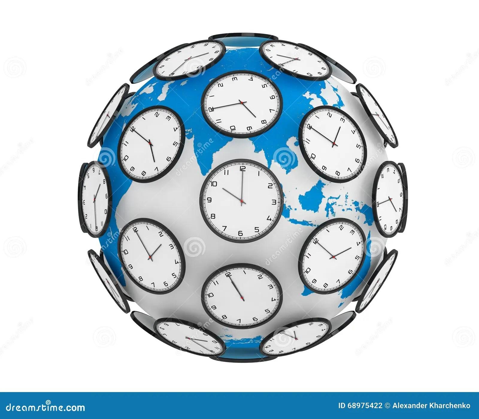 International Time Zones Concept Modern Clocks Around The