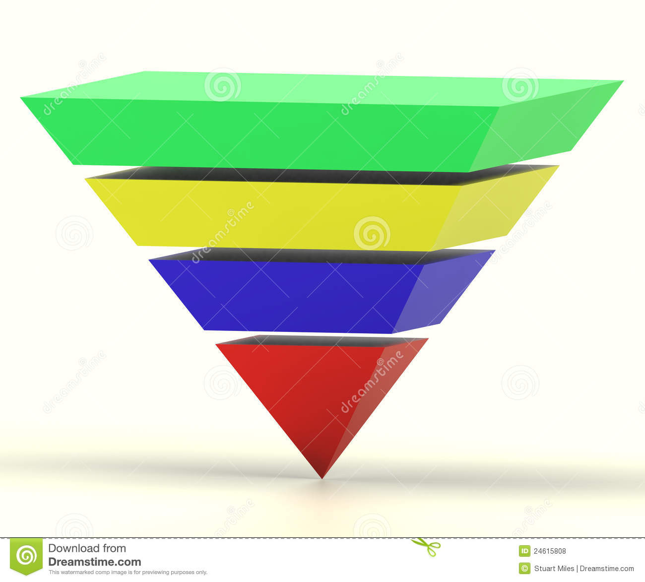 Inverted Pyramid With Segments Shows Hierarchy Stock