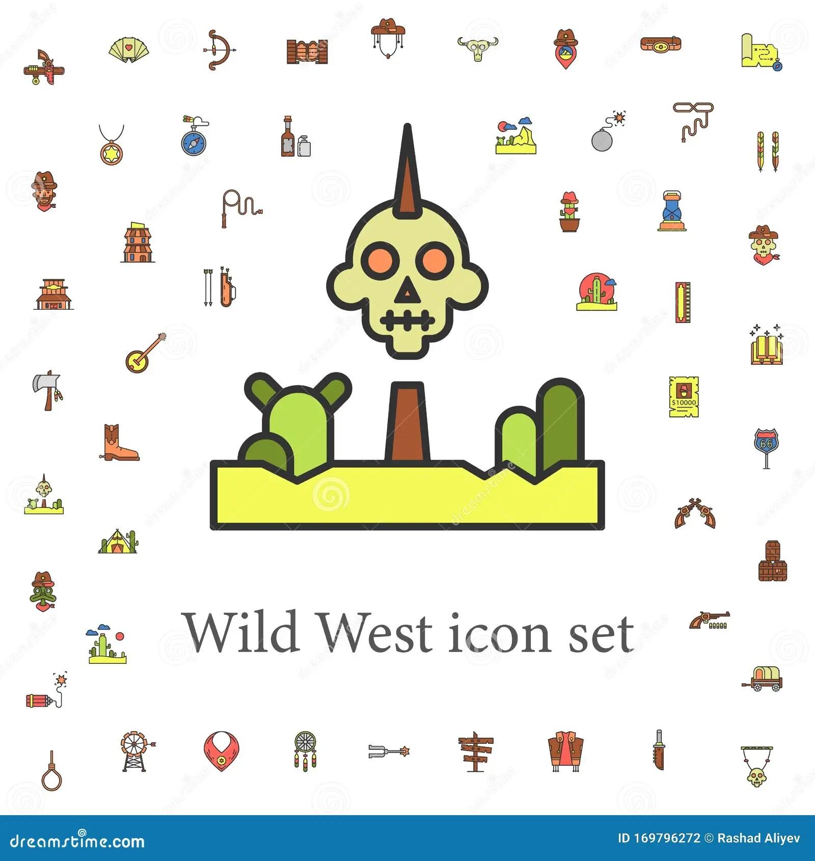 Iroquois Colorato Icone Wild West Set Universale Per Web E