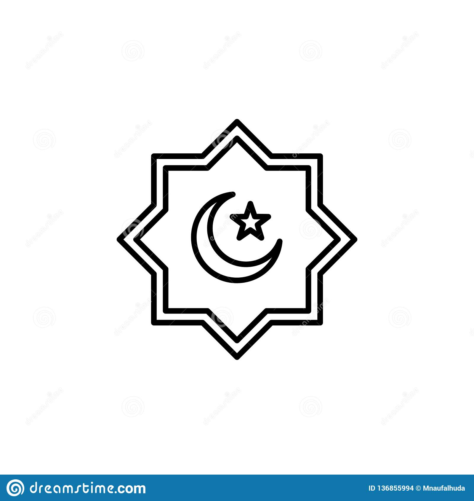 Islamic Culture Symbol With Crescent Moon And Star Simple