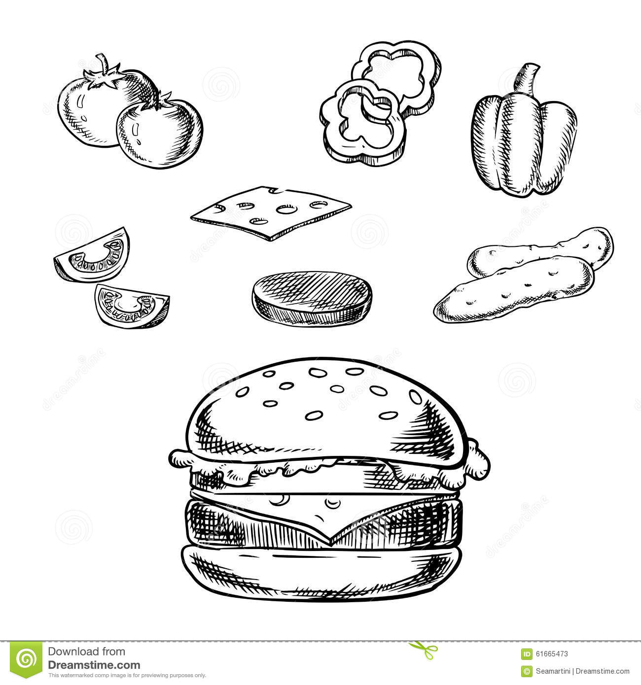 Isolated Cheeseburger With Fresh Ingre Nts Stock Vector