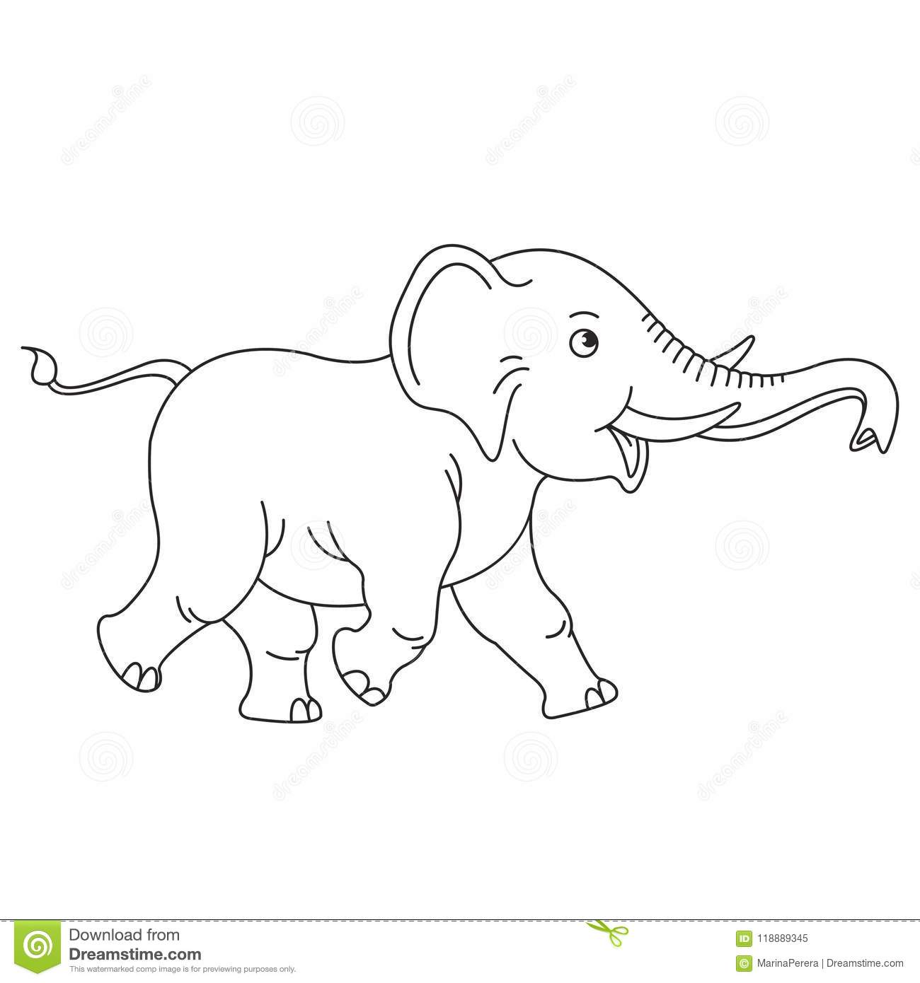 Isolated Happy Baby Elephant In Black Outline Stock Vector