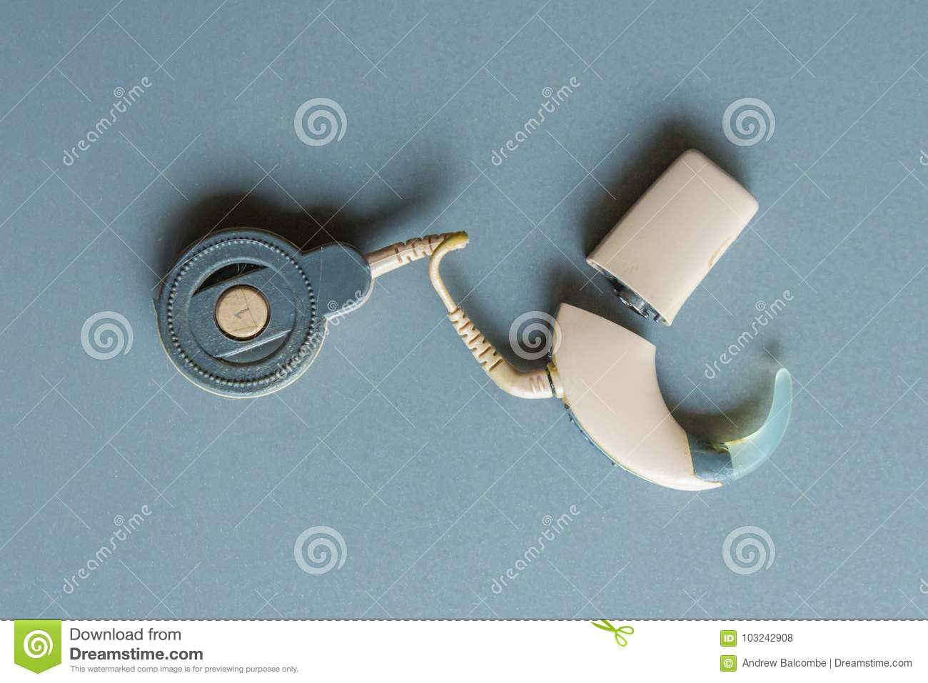 Isolated Individual Hearing Aid Parts Editorial Stock