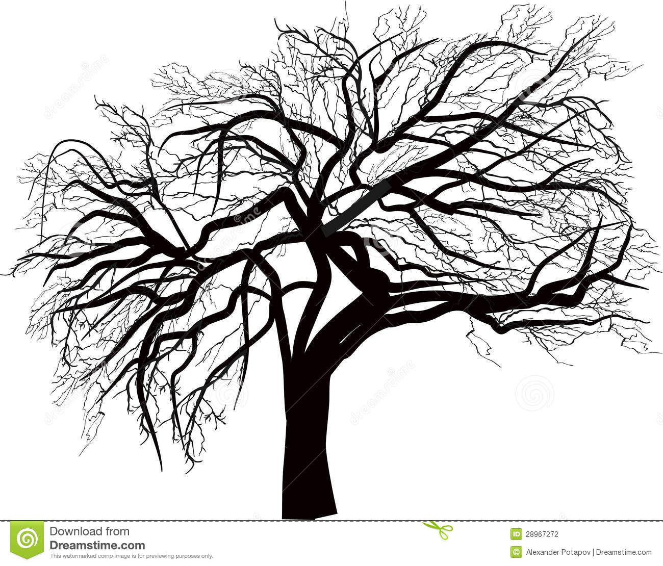 Isolated Large Bare Tree Illustration Stock Vector
