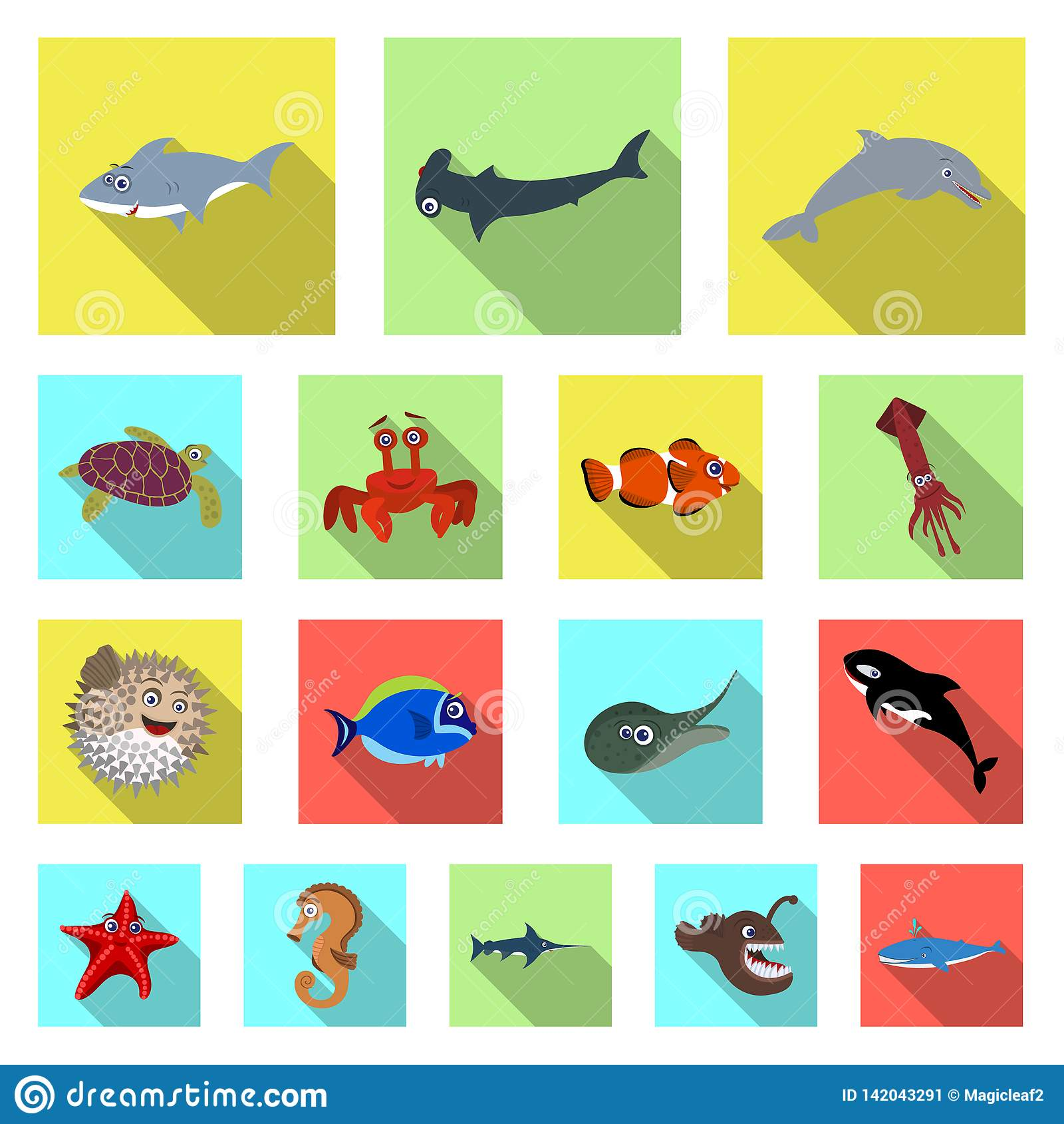 Sea Fish Shadow Cartoon Vector