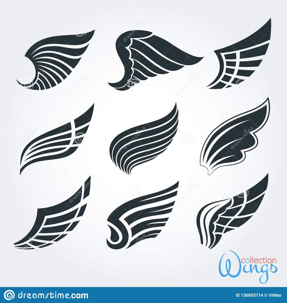 Set Of Vintage Wings Silhouette For Logo Tattoo Design Stock