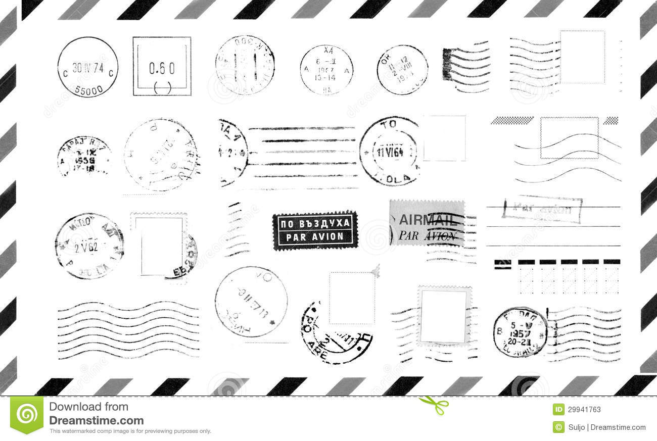 Rubber Stamps On Envelope Stock Photos
