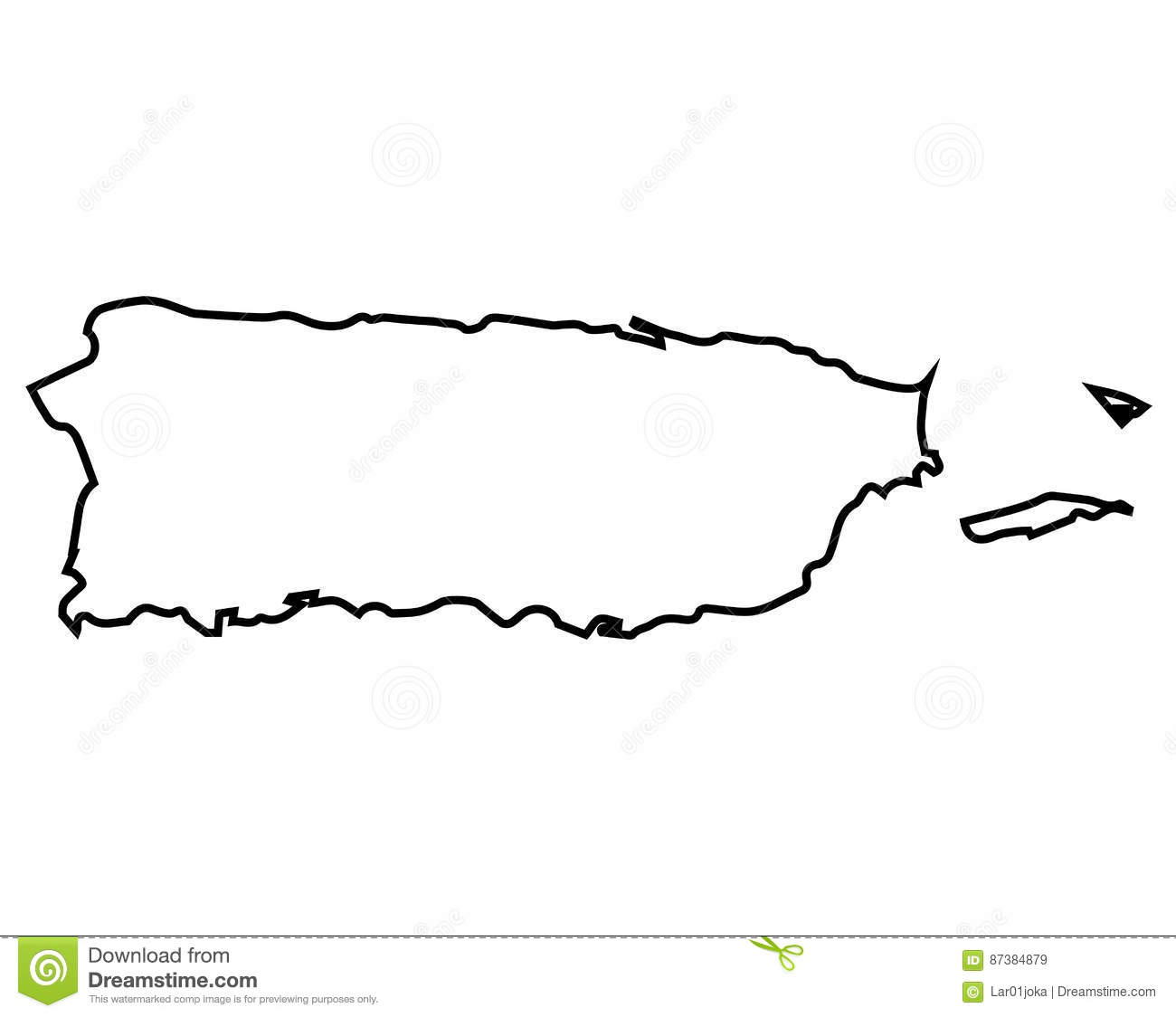 Isolated Puerto Rico Map Stock Vector Illustration Of