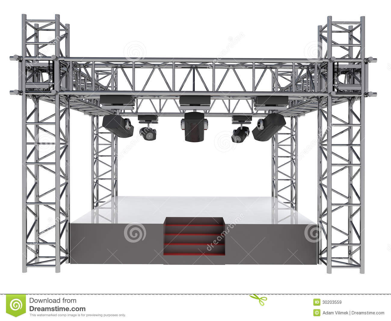 Isolated Stage Podium With Many Spotlights Stock