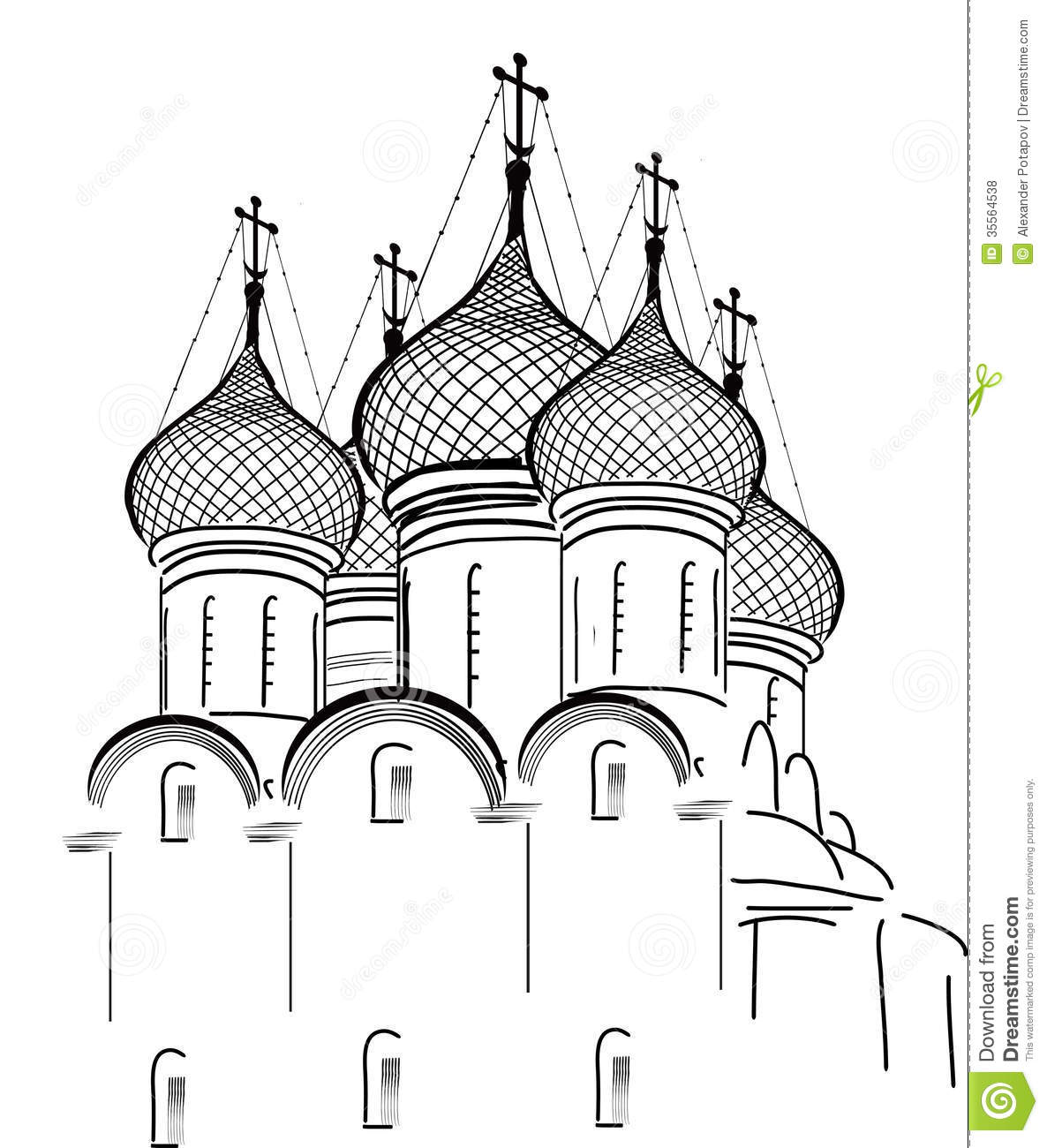 Isolated On White Orthodox Church Sketch Royalty Free