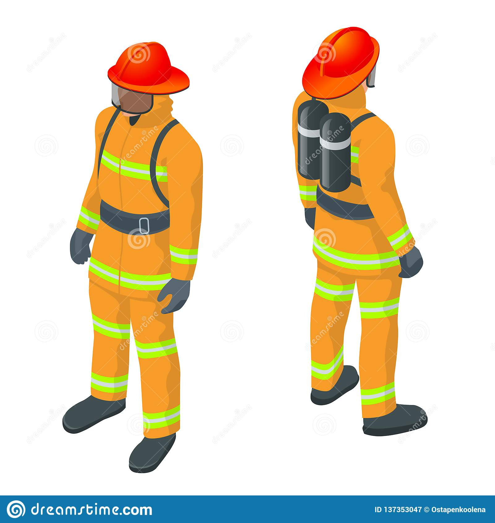 F Is For Fireman Vector Illustration