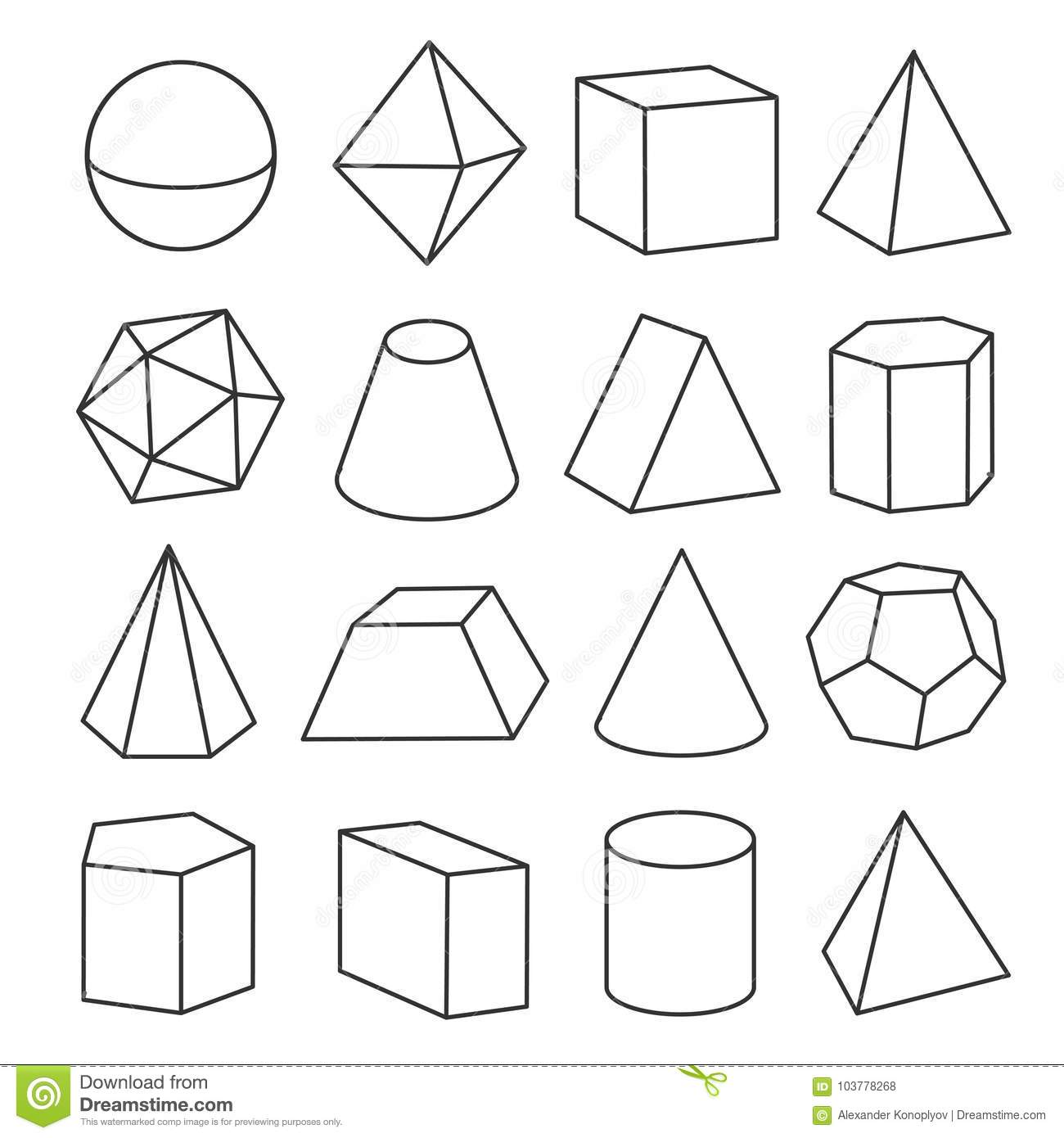 Isometric Geometric Figures Stock Vector