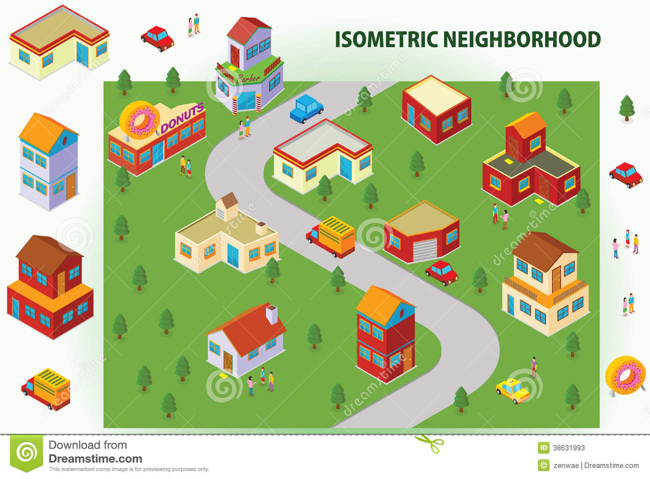 Isometric Neighborhood Stock Illustration Illustration Of