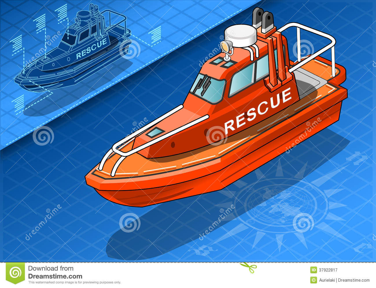 Isometric Rescue Boat In Front View Royalty Free Stock