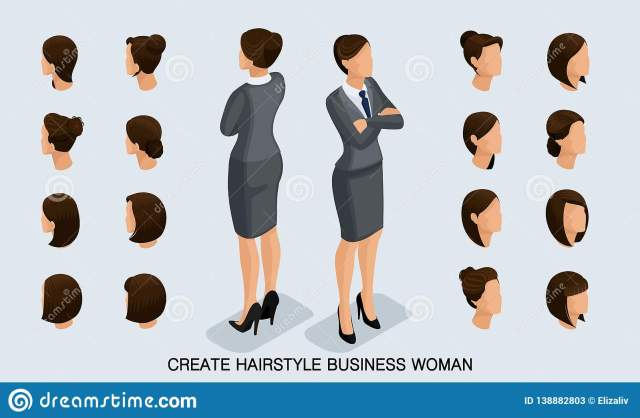 isometric set business women and hairstyles stock vector