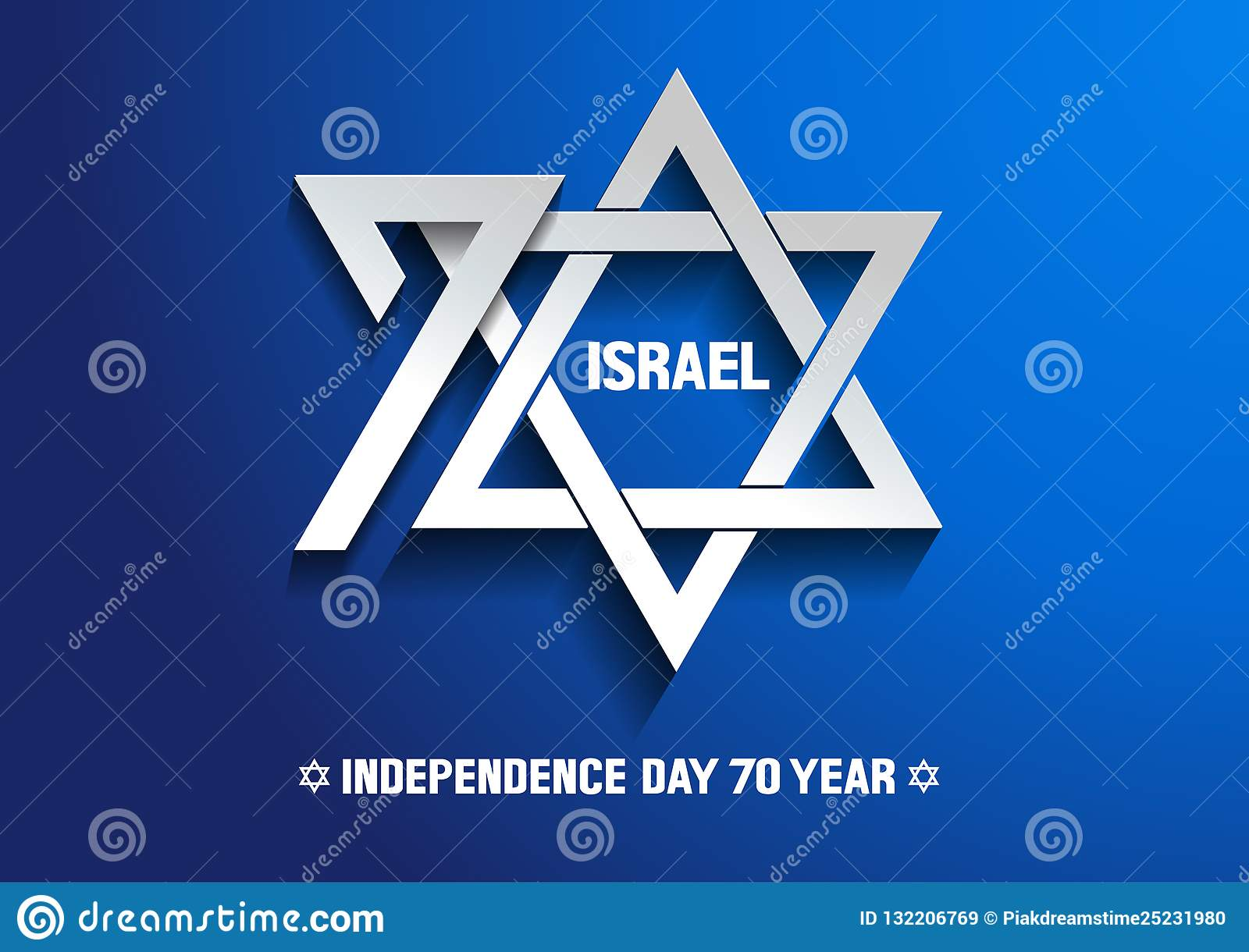 Israel Independence Day 70th Stock Vector