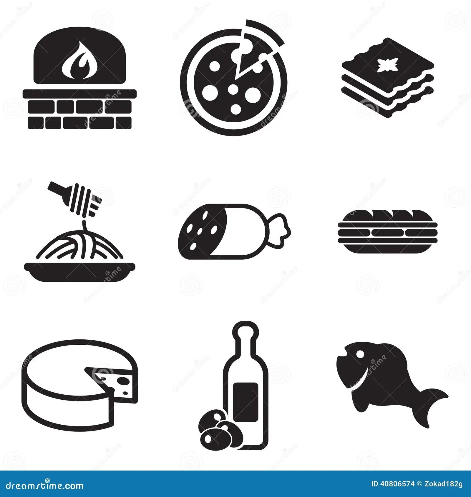 Italian Food Icons Stock Vector
