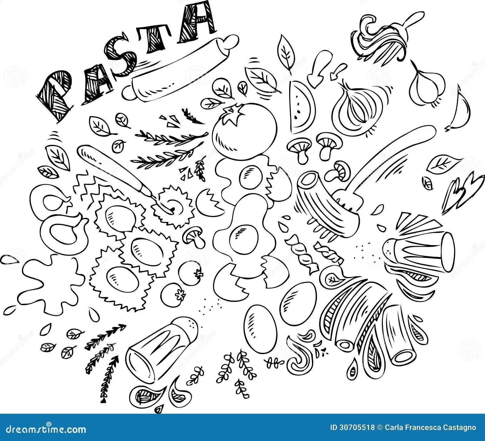 Italian Food Pasta Vector Stock Vector Illustration Of