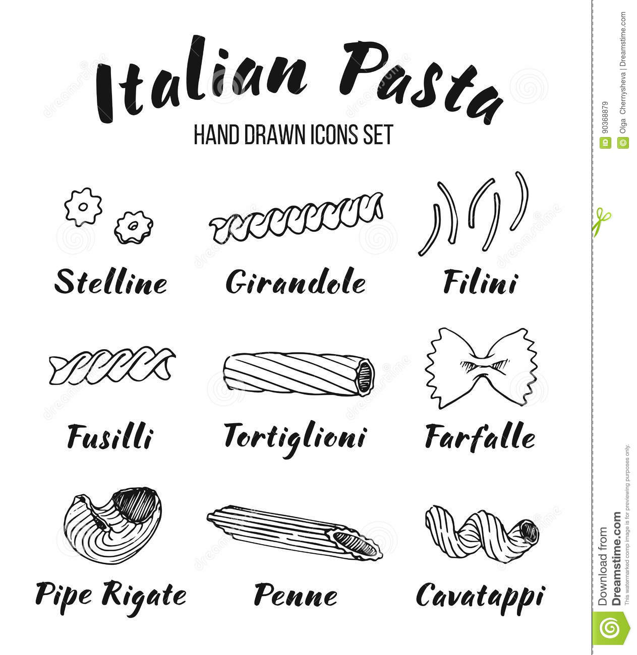 Italian Pasta Shapes And Names Set Stock Vector