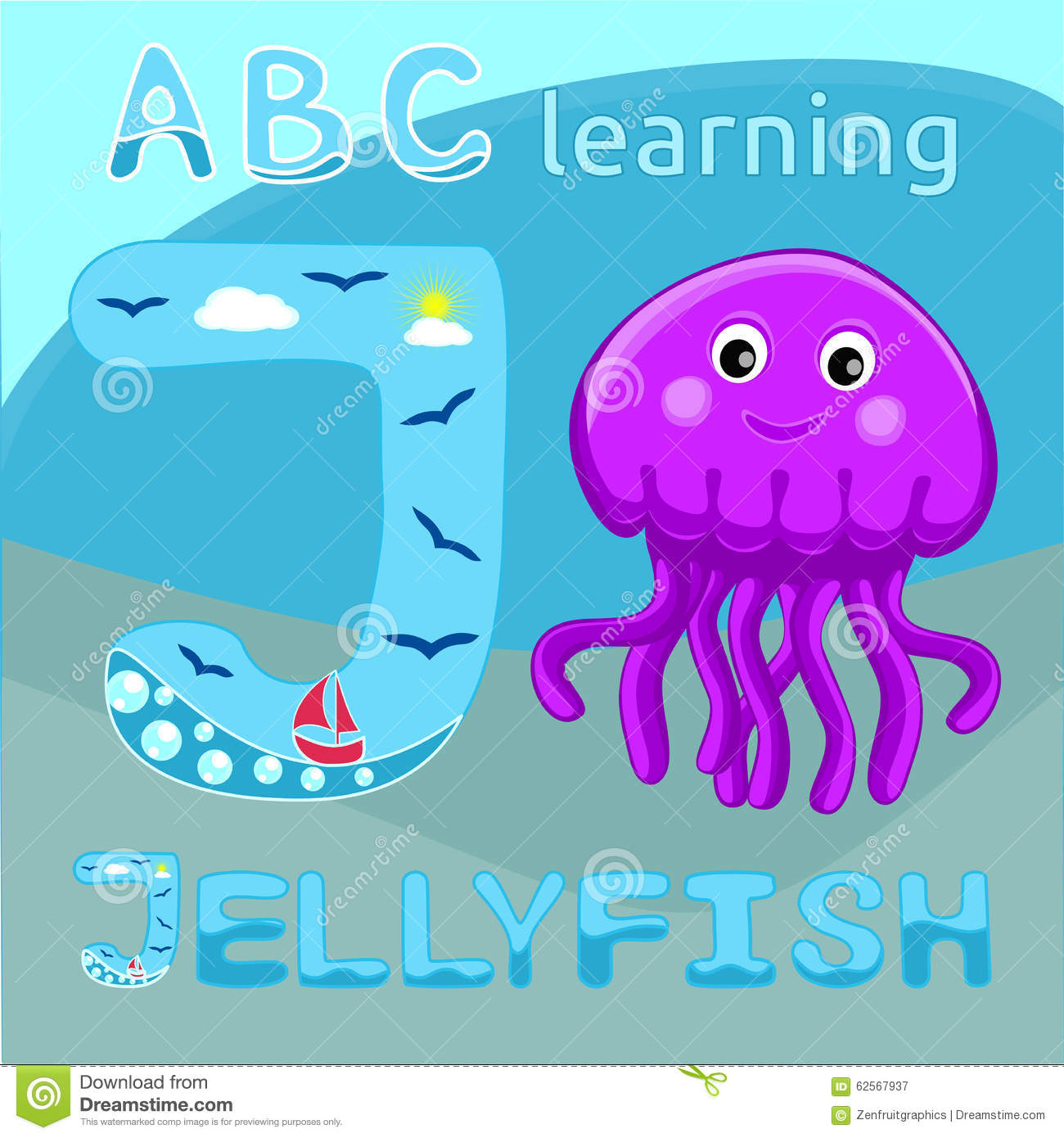 J Is For Jellyfish Letter J Uppercase Font And Cute Happy Jellyfish Cartoon Character Sea Animal