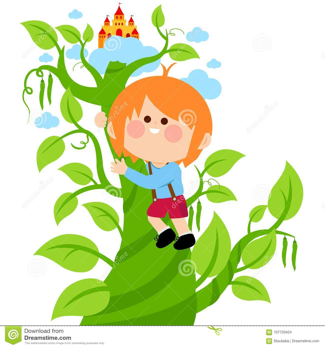 Jack Climbing The Magic Beanstalk Stock Vector