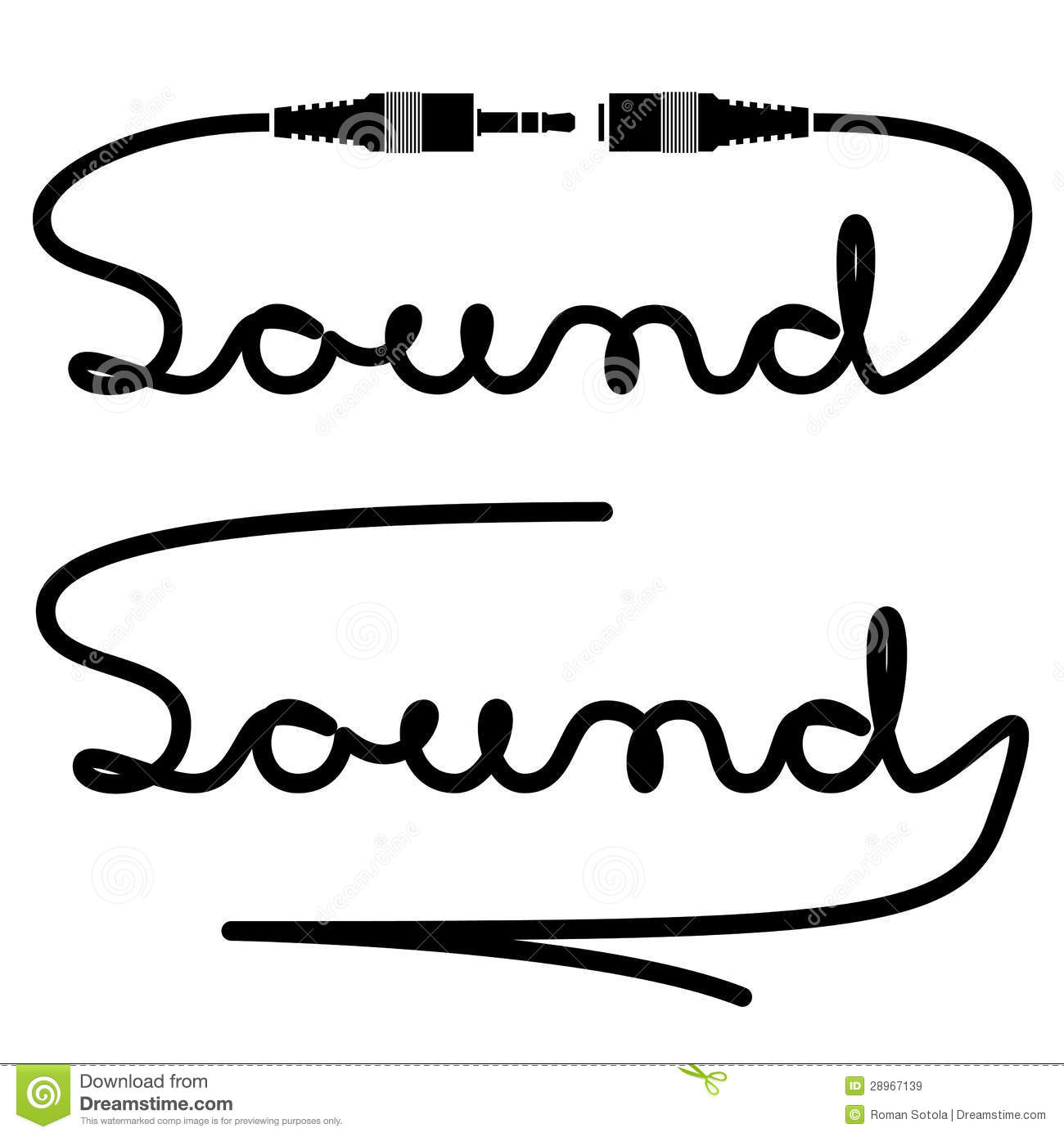 Jack Connectors Sound Calligraphy Stock Vector