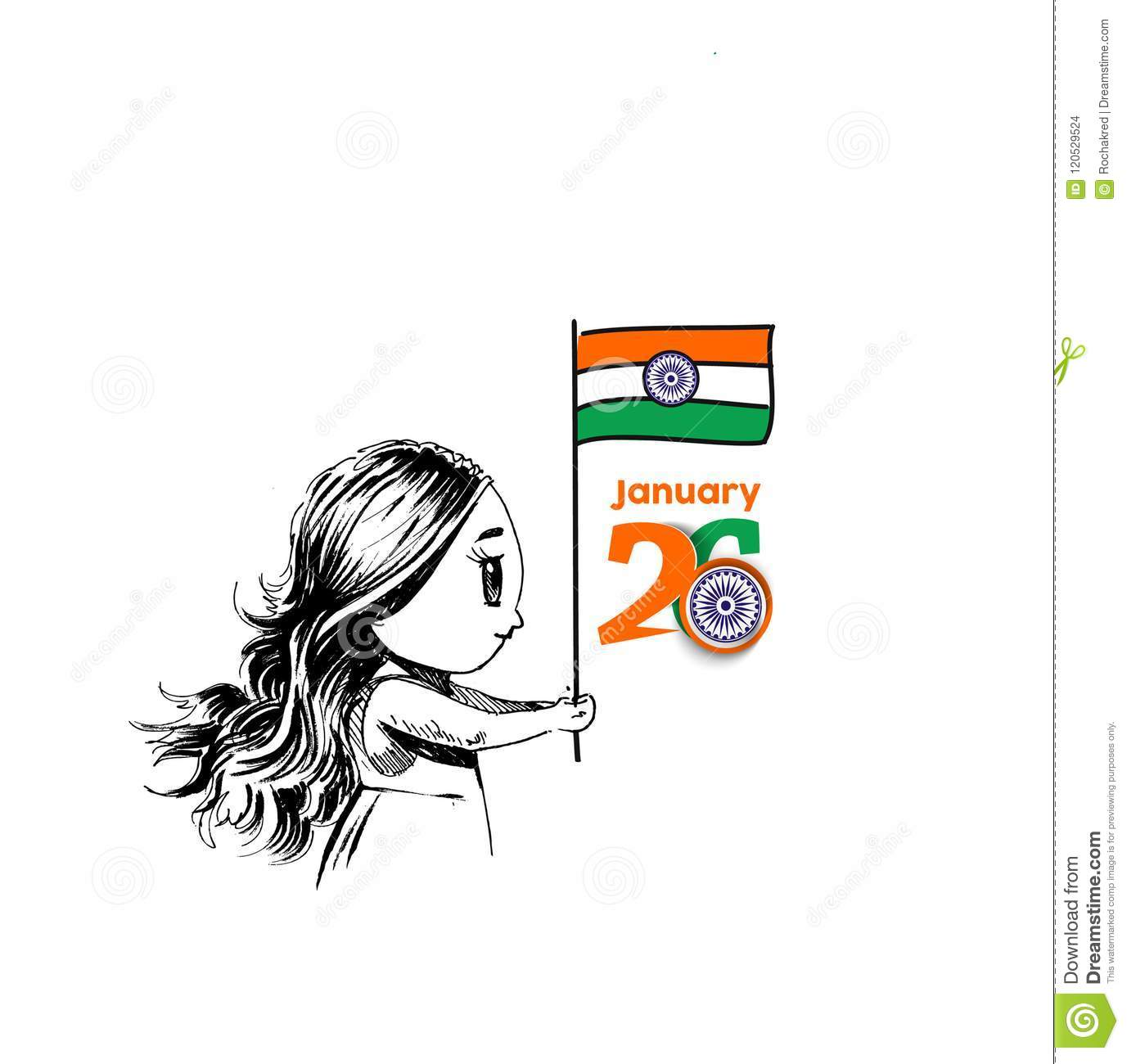 26 January Republic Day Concept With A Little Girl Holding