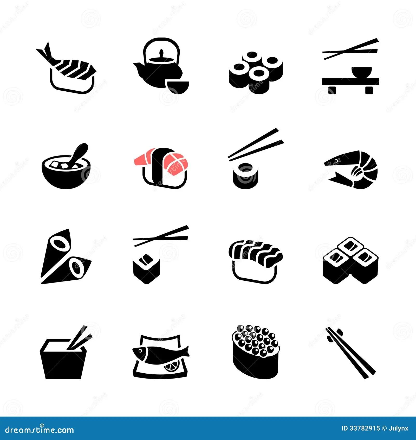 Japanese Food Sushi Web Icon Set Royalty Free Stock Photo