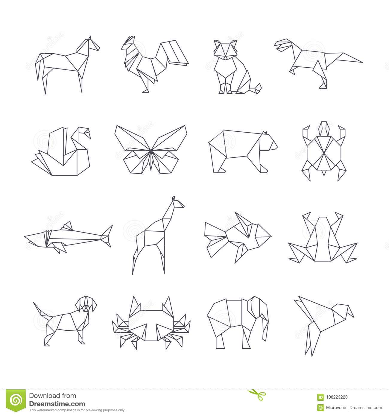 Japanese Origami Paper Animals Vector Line Icons Stock