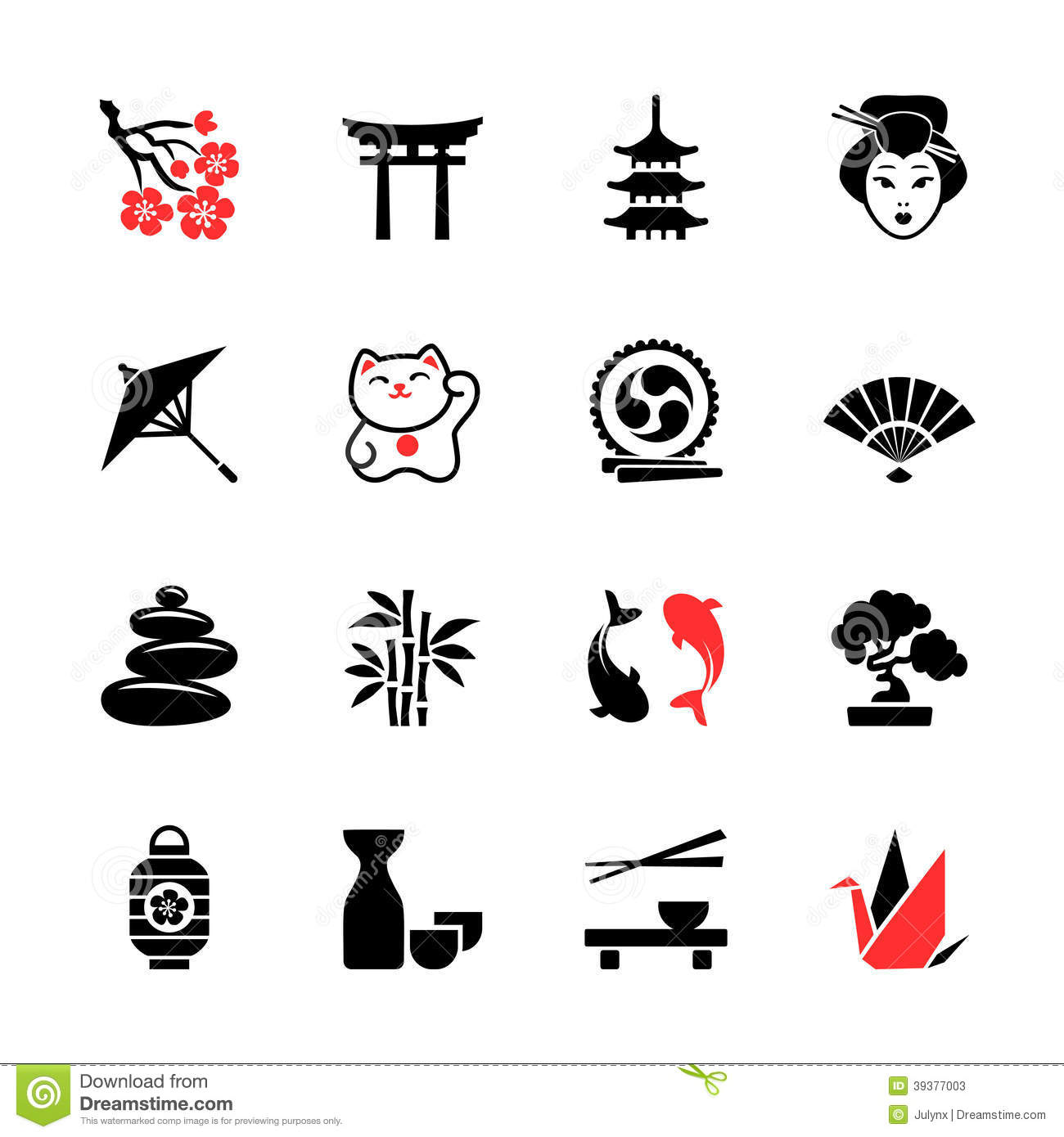 Japanese Theme Icon Set Stock Vector Illustration Of
