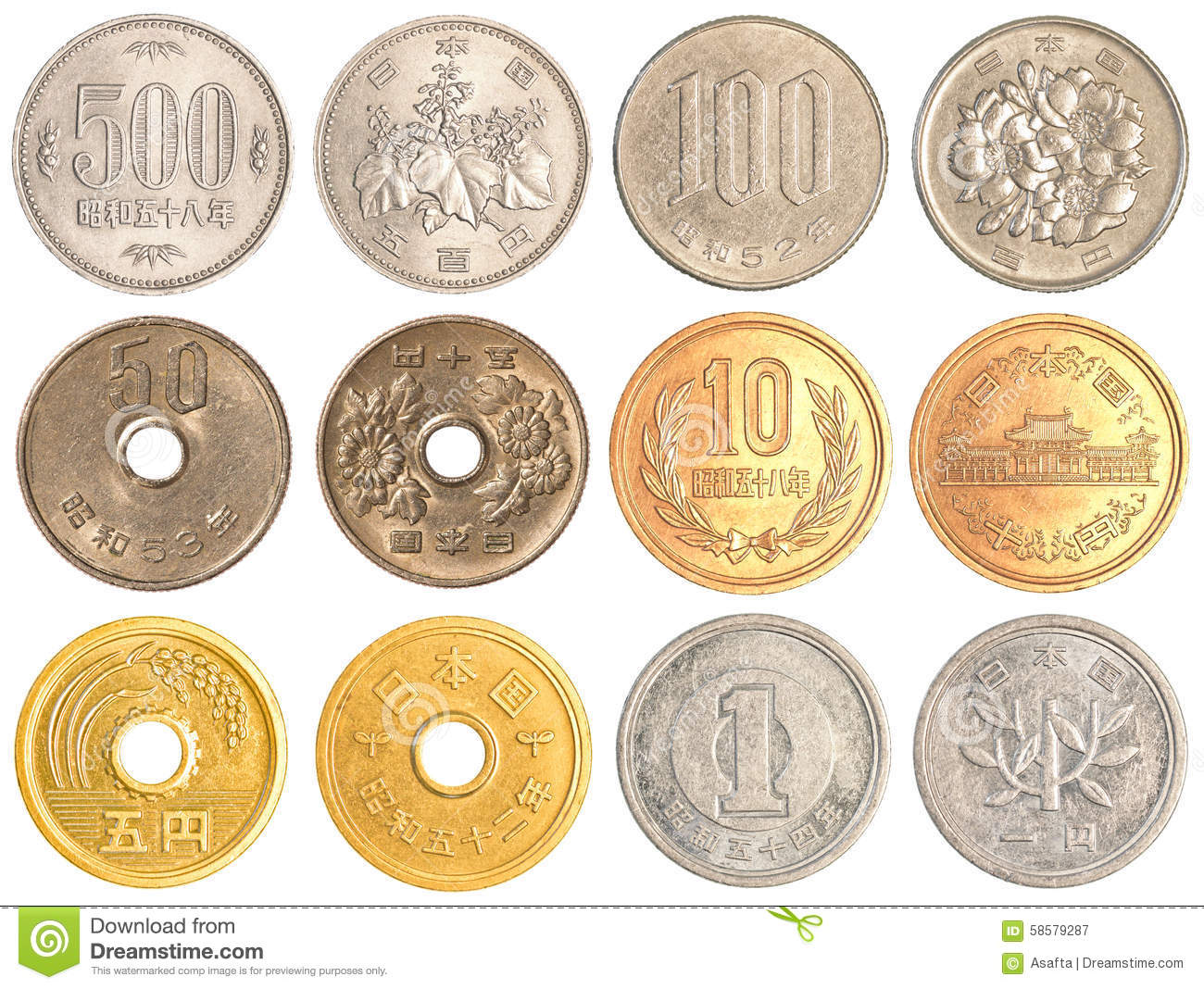 Japanese Yen Coins Collection Stock Image