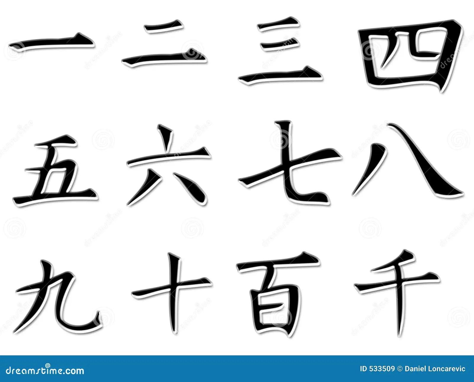 Japanische Zahlen Stock Abbildung Illustration Von