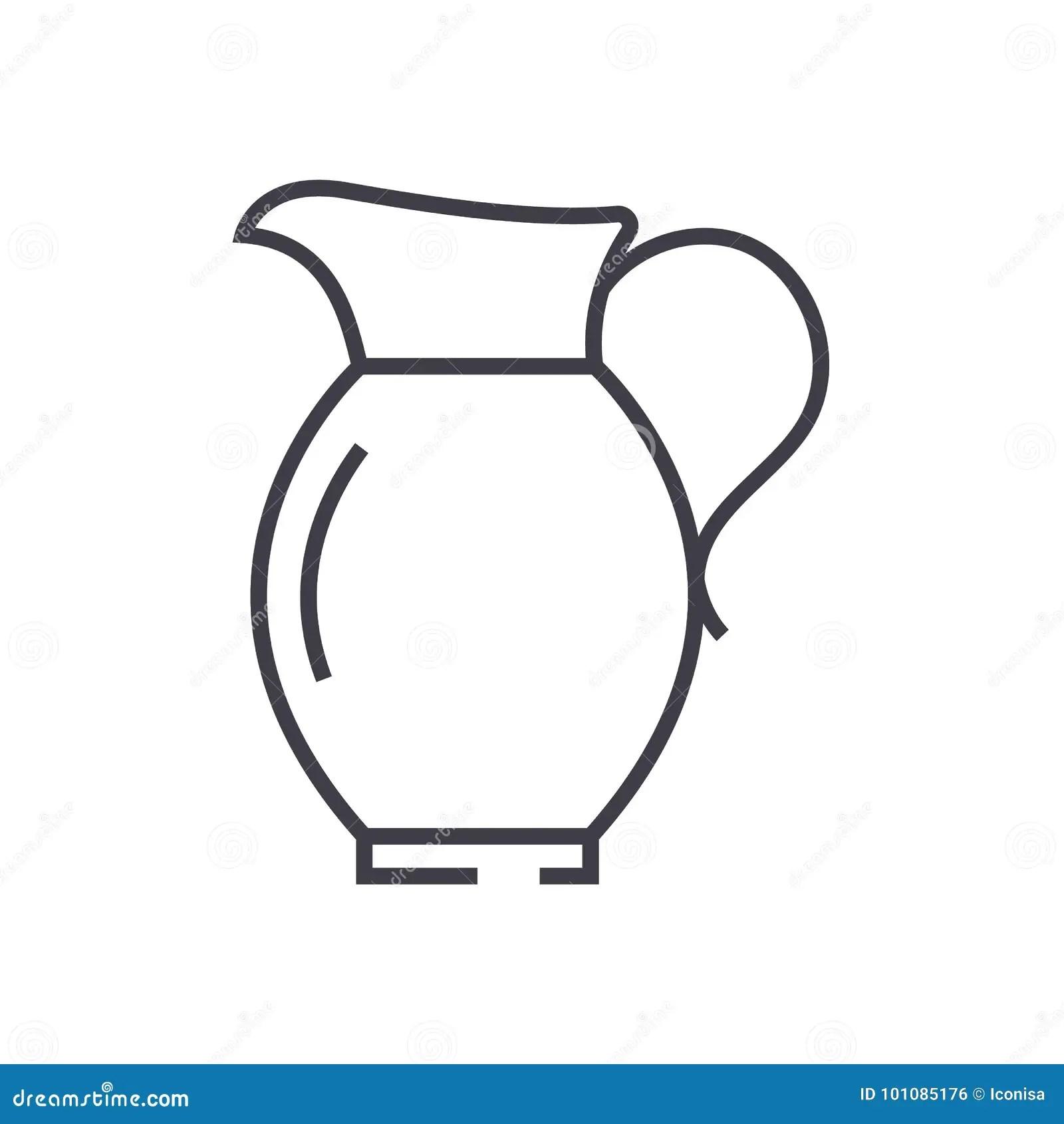 Jar Vector Line Icon Sign Illustration On Background