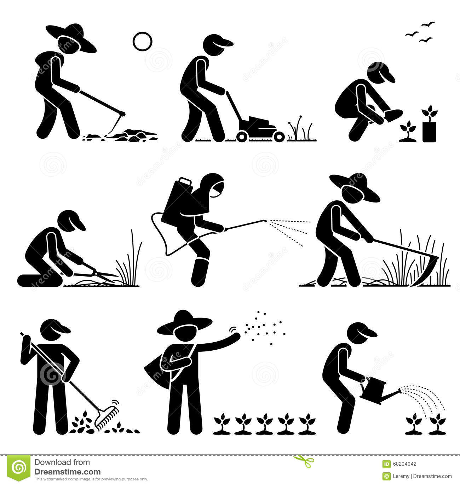 Jardinier Et Agriculteur Clipart Illustration De Vecteur