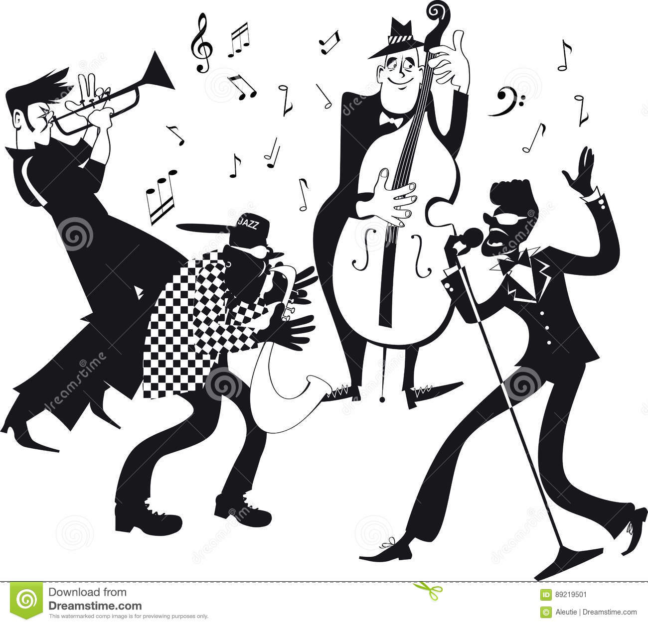 Jazz Band Clip Art Stock Vector Illustration Of Play