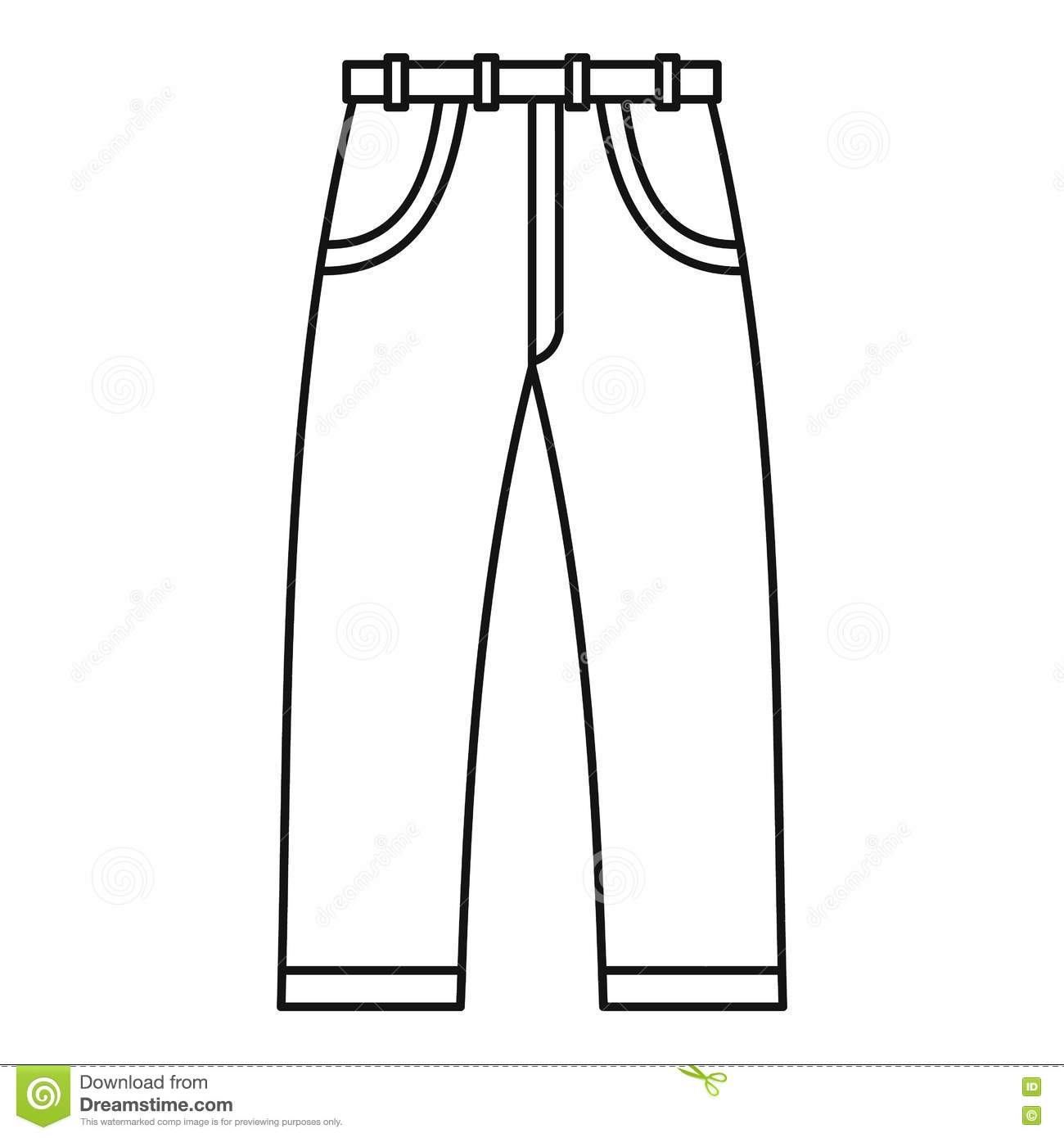 Jeans Icon Outline Style Stock Vector Illustration Of