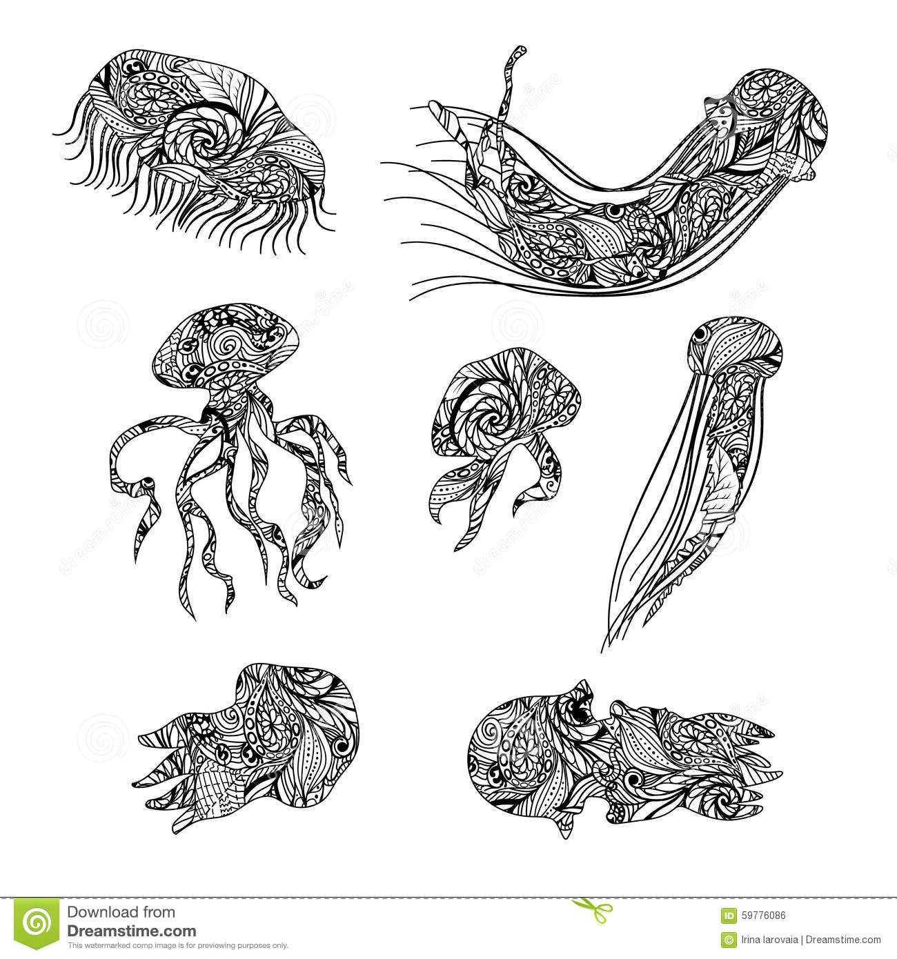 Jellyfish Graphic Patterns Abstract Illustrations Stock