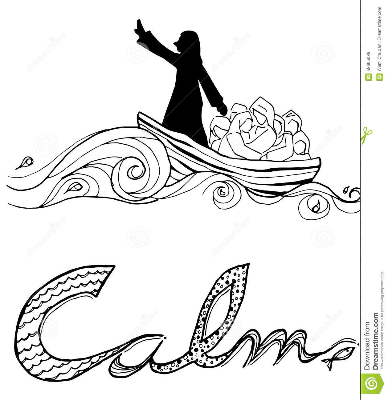 Jesus Calm Storm Line Art Illustration Christian Art Stock