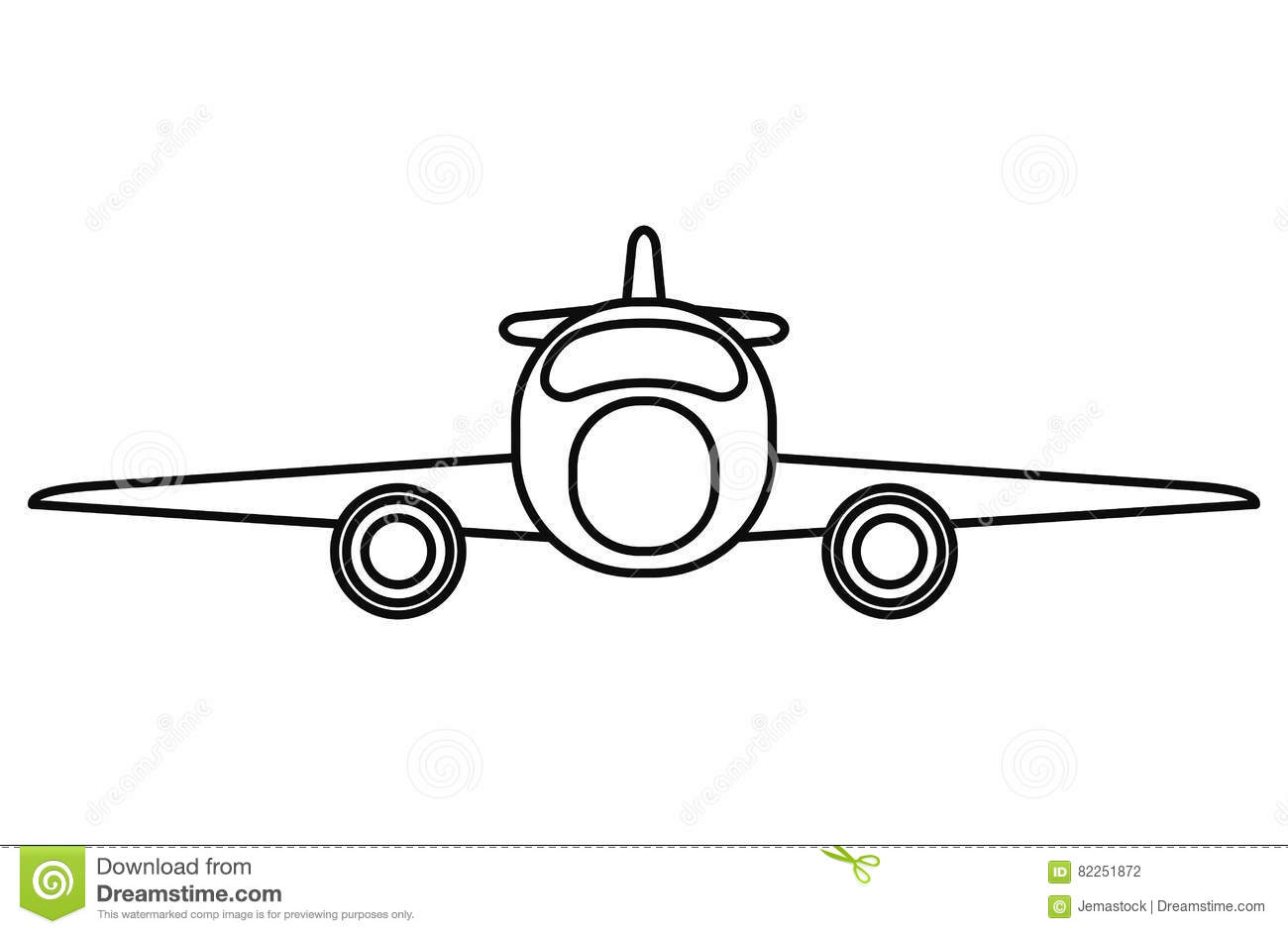 Jet Airplane Private Transport Front View Outline Stock