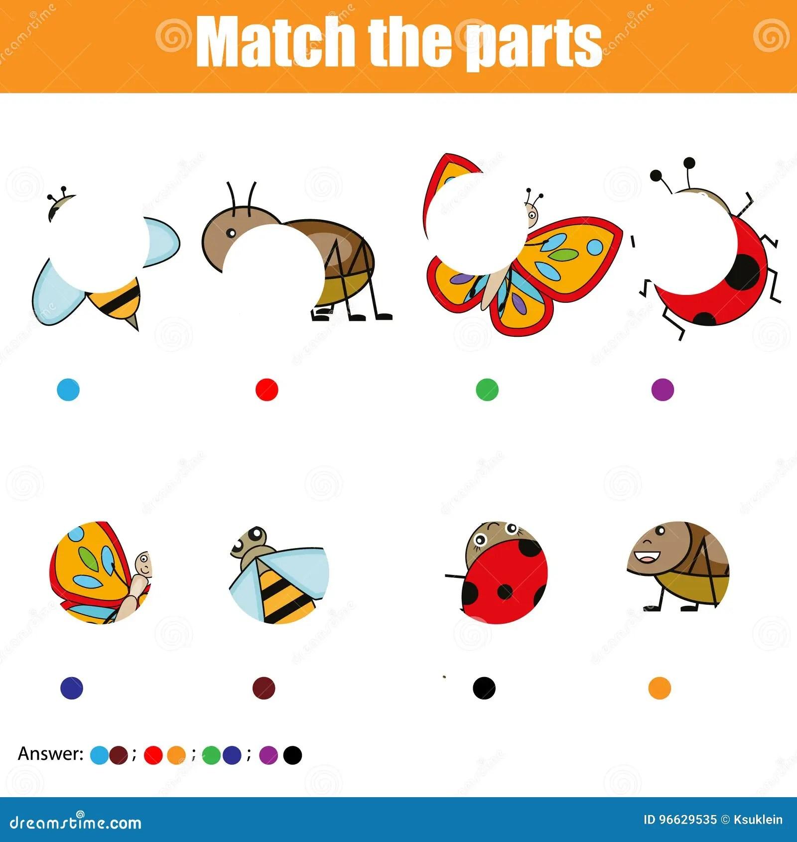 Jeu Educatif Assorti D Enfants Badine L Activite Pieces D Insectes De Match Trouvez Le Puzzle